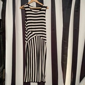 Bar III black and white stripped pencil dress